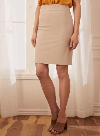 Stretchy Pencil Skirt, Off White,  skirt, pencil, stretchy, slit, spring summer 2020