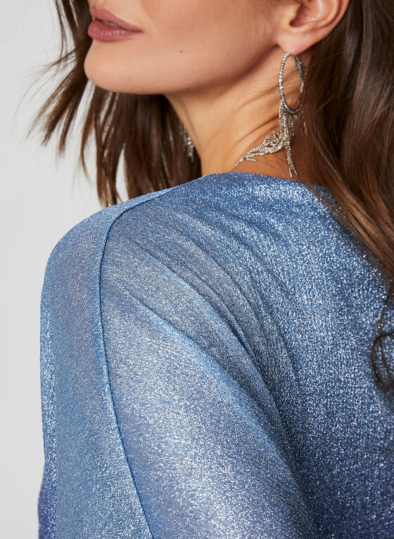 Ombre Metallic Poncho Top, Blue