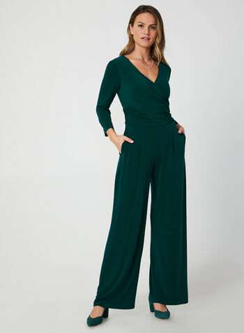 3/4 Sleeve Jersey Jumpsuit, Green,  fall winter 2019, jersey, V-neck, surplice neck, long sleeve, 3/4 sleeves