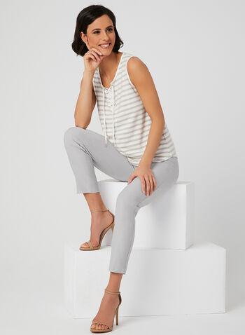 Stripe Print Sleeveless Top, White, hi-res