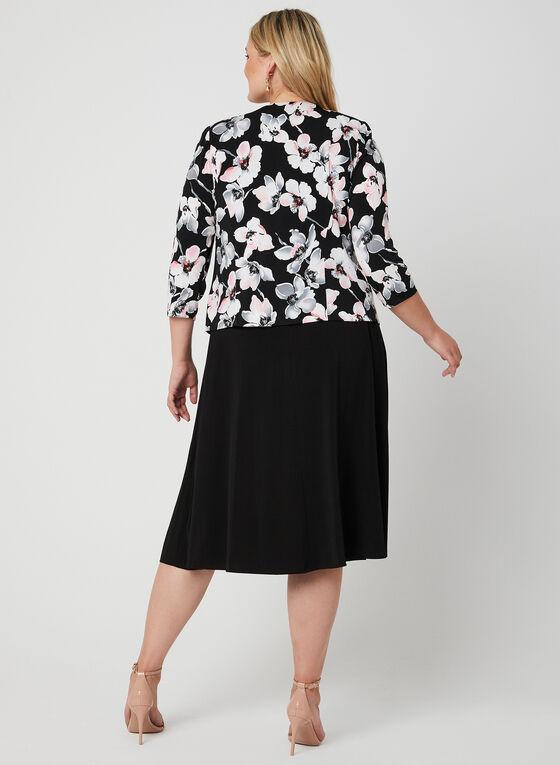 Robe en jersey et blazer fleuri, Noir, hi-res