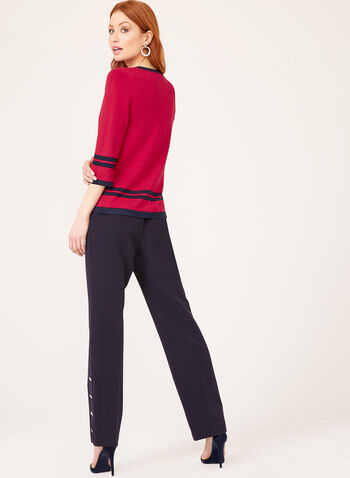Contrast Embroidery Sweater, Red, hi-res