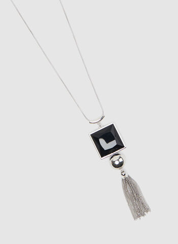 Tassel Pendant Necklace, Black, hi-res