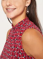Sleeveless Geometric Print Top, Red, hi-res