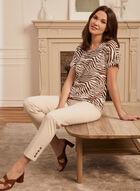 T-shirt à motif zébré et détail pois, Blanc