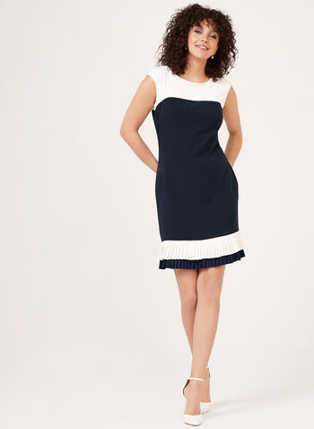 Colour Block Crepe Dress, Blue, hi-res