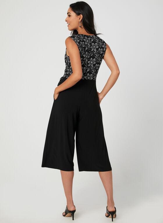 Combinaison à corsage fleuri et jambe large, Noir