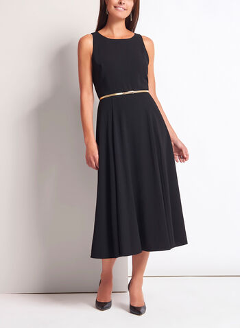 Belted Fit & Flare Midi Dress, Black, hi-res