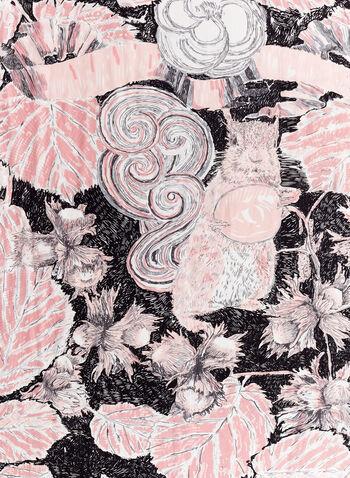 Foulard à feuilles fleurs et volutes, Rose, hi-res