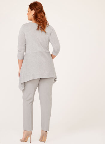 Asymmetric Hem Tunic Sweater, Grey, hi-res