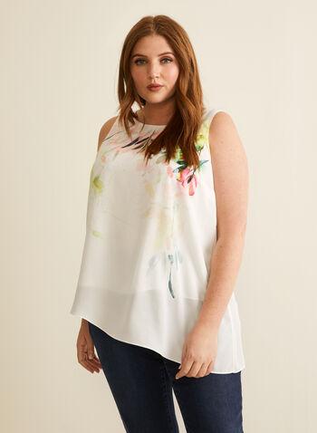 Sleeveless Asymmetric Top, White,  spring summer 2020, crepe, floral print, sleeveless, asymmetric