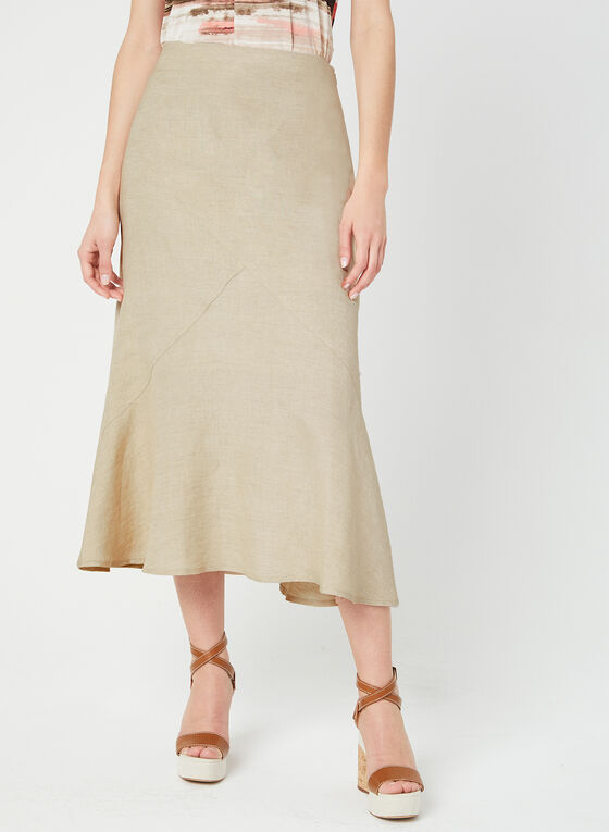 Linen-Blend Skirt, Off White, hi-res