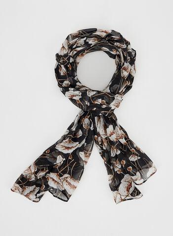 Foulard oblong à motif floral, Noir, hi-res