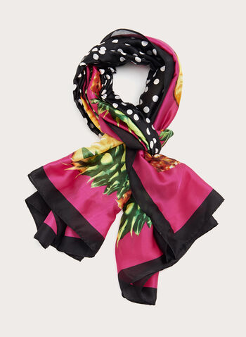 Dot & Pineapple Print Scarf, Pink, hi-res