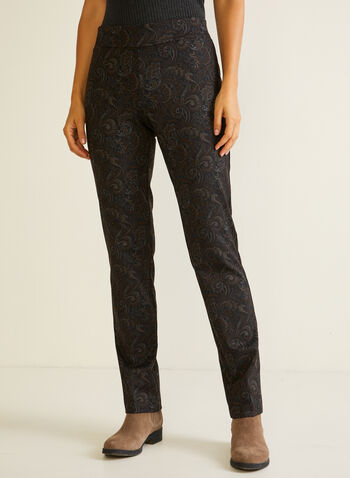 Paisley Print Pull-On Pants, Black,  fall winter 2020, pants, pull-on, elastic waist, slim leg, paisley, made in canada