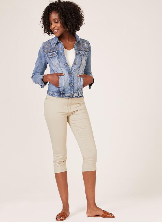 Ness – Crystal Embellished Denim Jacket, Blue, hi-res