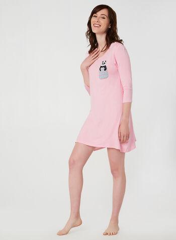 Pillow Talk - ¾ Sleeve Nightgown, Pink, hi-res,  Pillow Talk, nightgown, pyjama, sleepwear, fall 2019, winter 2019