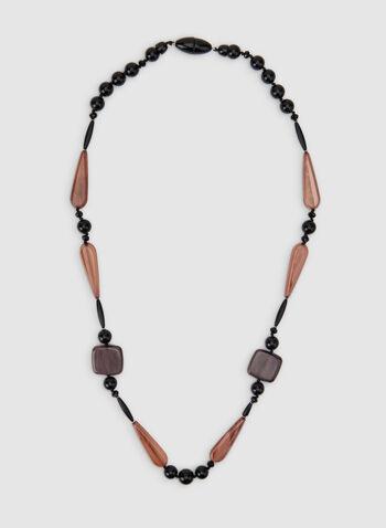 Collier long à formes géométriques, Noir, hi-res,  collier, long, formes géométriques, résine, automne hiver 2019