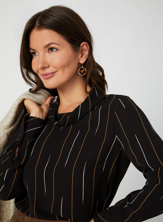 Stripe Print Blouse, Black