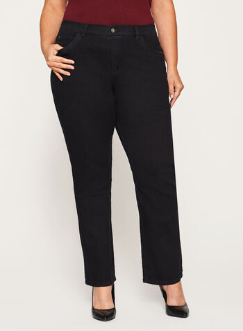 Simon Chang - Signature Fit Straight Leg Jeans, Black, hi-res