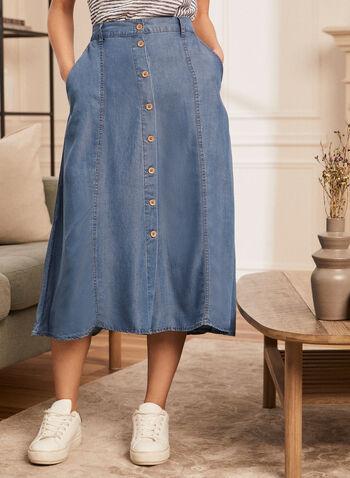 Button Down Tencel Midi Skirt, Blue,  skirt, midi, tencel, buttons, pockets, belt loops, spring summer 2020