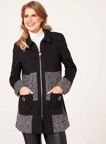 Long Colour Block Jacket, Black, hi-res
