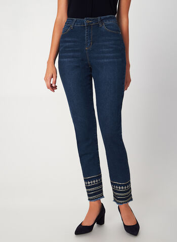 G.G. Jeans - Tribal Slim Leg Jeans, Blue,  jeans, denim, pants, slim leg, pockets, sequins, embellishment, fall 2019, winter 2019