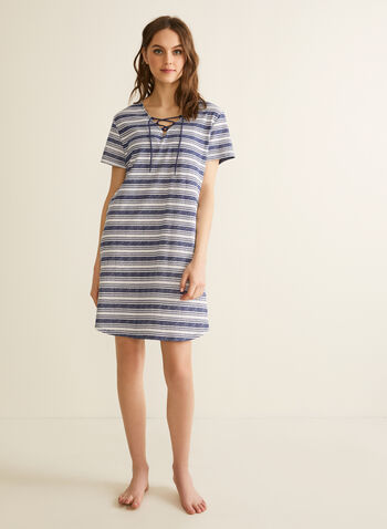 Claudel Lingerie - Striped Print Nightshirt, Blue,  sleepwear, nightshirt, striped, tie, v-neck, spring summer 2020