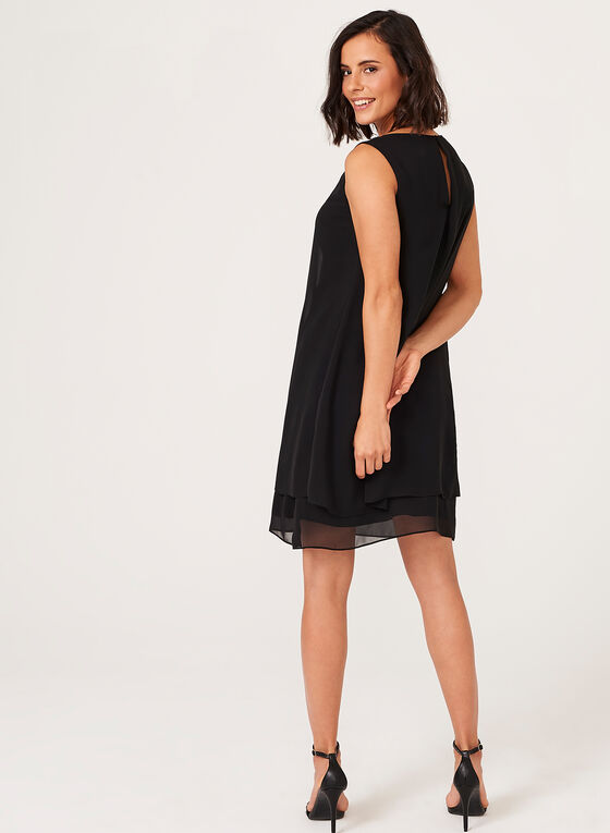 Tiered Beaded Neck Chiffon Dress, Black, hi-res