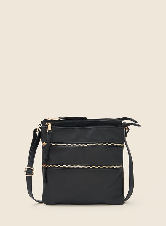 Zipper Detail Crossbody Bag, Black