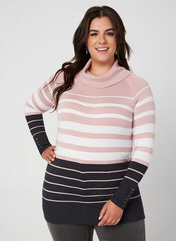 Stripe Print Long Sleeve Sweater, Purple,  sweater, long sleeves, stripe print, marilyn collar, knit, fall 2019, winter 2019