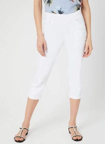 GG Jeans - Embellished Capri Pants, White, hi-res,  Embroidery, pearls, crystals, denim, pull-on, spring 2019