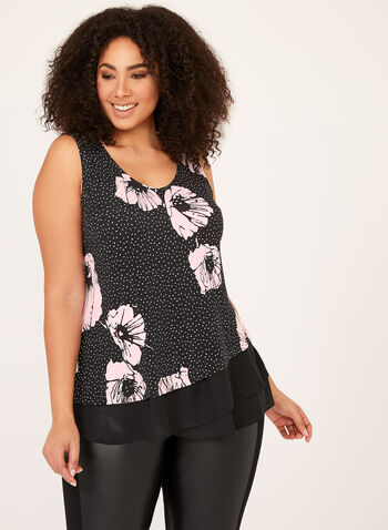 Floral Mini Dot Print Top , Black, hi-res