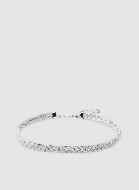 Thin Braided Belt , Silver