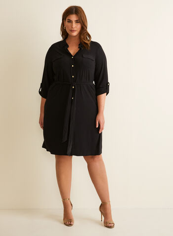 3/4 Sleeve Shirt Dress, Black,  dress, shirt dress, buttons, 3/4 sleeves, shirt collar, stretchy, flap pockets, tie belt, spring summer 2020