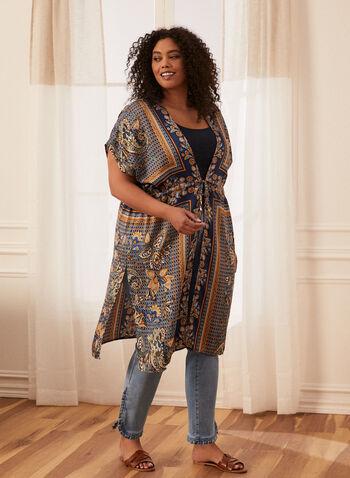 Tunique style kimono à manches courtes, Bleu,  tunique, ouverte, manches courtes, ceinture, ruban, cachemire, paisley, motif, imprimé, kimono, fentes, soie, soyeux, printemps été 2021