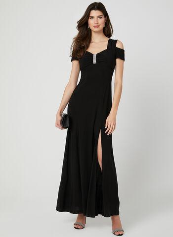 Rhinestone Detail Jersey Dress, Black, hi-res,  occasion dress, jersey, sweetheart neckline, rhinestones, cold shoulder, spring 2019