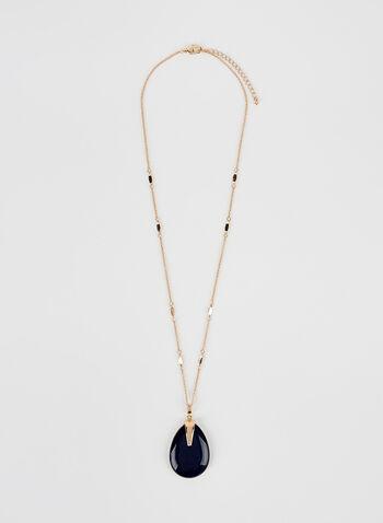 Stone Pendant Necklace , Blue, hi-res