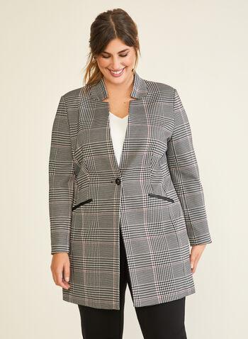 Veste redingote à motif tartan, Noir,  veste, redingote, bouton, tartan, manches longues, automne hiver 2020