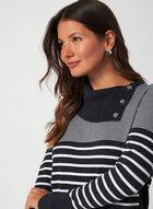 Stripe Print Sweater, Grey