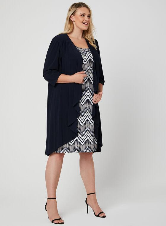 Robe motif abstrait et cardigan ouvert, Bleu, hi-res