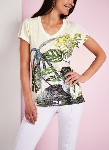 Crystal Embellished Palm Print T-Shirt, White, hi-res