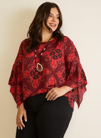 Blouse à motif et manches drapées, Rouge,  automne hiver 2020, haut, blouse, mousseline, crêpe, encolure ronde, manches drapées, manches 3/4, motif