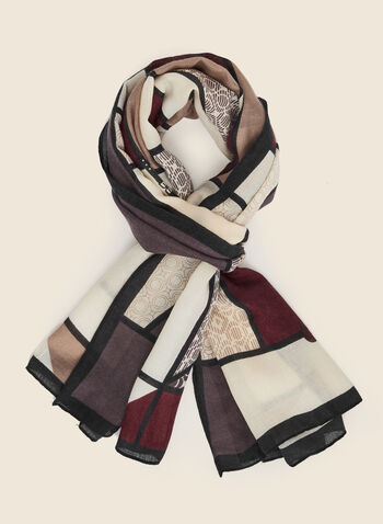 Colour Block Lightweight Scarf, Red,  scarf, lightweight, colour blocks, geometric print, fall winter 2020