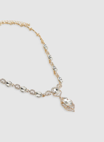Stone Faceted Crystal Necklace, Gold, hi-res,  crystal necklace, stone necklace