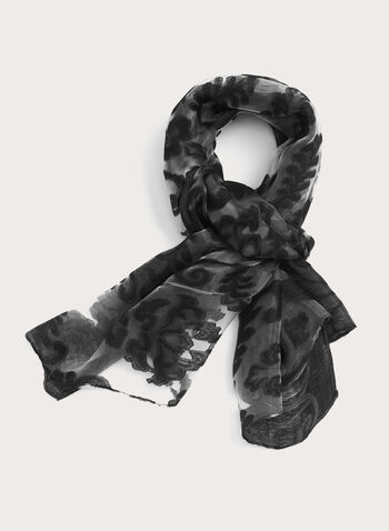 Damask Burnout Print Shawl, Black, hi-res