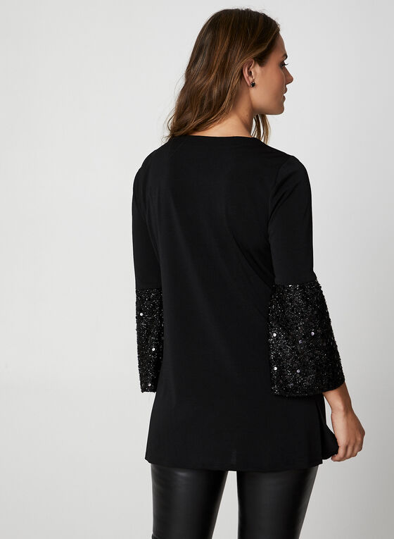 3/4 Sleeve Crepe Top, Black