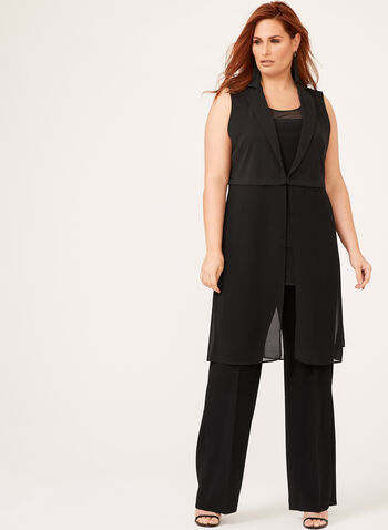 Picadilly - Sleeveless Chiffon Vest , Black, hi-res