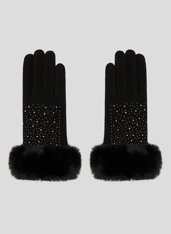 Sequin Detail Gloves, Black, hi-res