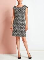 Contrast Lace Shift Dress, Black, hi-res
